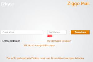 webpagina Ziggo webmail inloggen